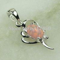 Joyería de moda de plata hechos a mano de piedras preciosas de color rosa ópalo de fuego de envío joyas gratis LP0064 (China (continental))