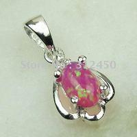 Joyería de moda de plata hechos a mano, joyas de piedras preciosas de color rosa de fuego ópalo envío gratis LP0066 (China (continental))