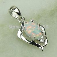 Joyería de moda de plata hechos a mano, joyas de piedras preciosas fuego blanco opal envío gratis LP0065 (China (continental))