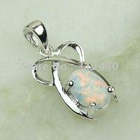 Moda joyas de plata hecho a mano blanco ópalo de fuego de piedras preciosas joyas gratis LP0063 de envío (China (continental))