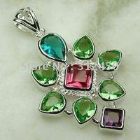 Joyas de plata Suppry hechos a mano verde envío de cuarzo joyas de piedras preciosas sin LP0059 (China (continental))