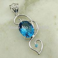 Wholeasle joyería de plata hechos a mano 5PCS topacio azul colgante de piedras preciosas joyas gratis LP0541 de envío (China (continental))