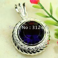 Suppry joyería de plata 5PCS joyería hecha a mano amatista colgante de piedras preciosas envío gratis LP0308 (China (continental))