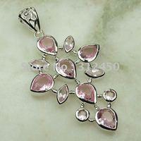 Moda joyería de plata hechos a mano de piedras preciosas de color rosa topacio colgante de envío joyas gratis LP0056 (China (continental))