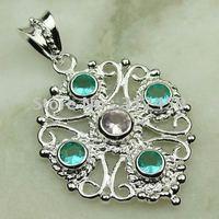 Joyería de moda de plata hechos a mano verde amatista colgante de piedras preciosas prasiolite envío joyas gratis LP0544 (China (continental))