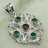 Joyería de moda de plata hechos a mano peridoto natrual joyería colgante de piedras preciosas sin LP0542 de envío (China (continental))