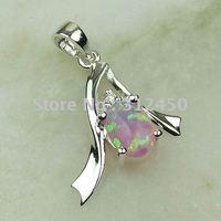 Moda joyería de plata hechos a mano de color rosa ópalo de fuego de piedras preciosas joyas gratis LP0052 de envío (China (continental))