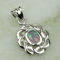 Joyas de plata caliente ventas hechas a mano de piedras preciosas de color rosa ópalo de fuego de envío joyas gratis LP0048 (China (continental))