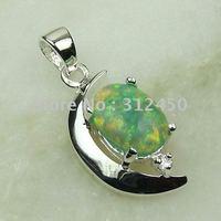Joyas de plata caliente ventas hechas a mano verde ópalo de fuego de piedras preciosas joyas gratis LP0053 de envío (China (continental))