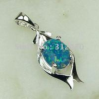 Joyas de plata caliente ventas hechas a mano azul ópalo de fuego de piedras preciosas joyas de envío gratis LP0049 (China (continental))