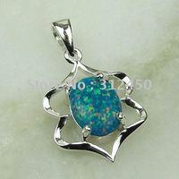 Joyas de plata caliente ventas hechas a mano azul ópalo de fuego de piedras preciosas joyas de envío gratis LP0050 (China (continental))