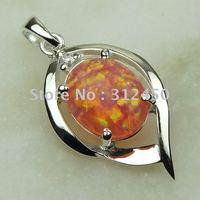 Joyería de moda de plata hechos a mano de piedras preciosas de ópalo de fuego amarillo envío joyas gratis LP0045 (China (continental))