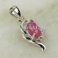 Suppry joyería de plata hechos a mano 5PCS rosa ópalo de fuego de piedras preciosas joyas de envío gratis LP0042 (China (continental))