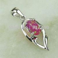 Moda joyería de plata hechos a mano 5PCS rosa ópalo de fuego de piedras preciosas joyas gratis LP0051 de envío (China (continental))