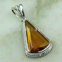 Las ventas de joyería de plata 5pcs caliente hecha a mano de piedras preciosas de Brasil citrino envío joyas gratis LP0068 (China (continental))