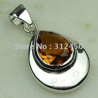 Joyas de plata Suppry hechos a mano Brasil joyas de piedras preciosas citrino envío gratis LP0468 (China (continental))