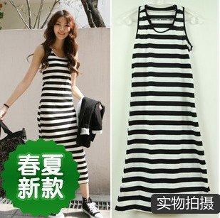 White Cotton Dress on Strips Dress Cotton Dress Fashion Casual Sleeveless Tanktop Dress