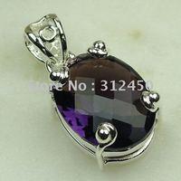 Joyería de moda de plata hechos a mano de piedras preciosas joyas de amatista libre LP0457 de envío (China (continental))