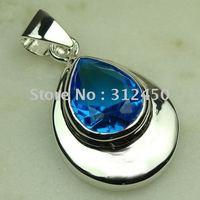 Moda joyería de plata hechos a mano de piedras preciosas topacio azul suizo envío joyas gratis LP0483 (China (continental))