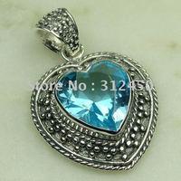Joyas de plata Wholeasle hechos a mano cielo azul joyas de piedras preciosas topacio envío gratis LP0470 (China (continental))