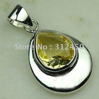 Wholeasle joyería de plata hechos a mano de piedras preciosas joyas luz citrino envío gratis LP0491 (China (continental))
