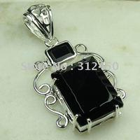 Suppry 5PCS moda de joyería de plata hechos a mano, joyas de piedras preciosas de ónix balck envío gratis LP0486 (China (continental))