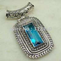 Suppry 5PCS moda de joyería de plata hechos a mano de piedras preciosas topacio azul joyas gratis LP0451 de envío (China (continental))