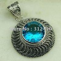 Suppry 5PCS moda de joyería de plata hechos a mano de piedras preciosas topacio azul joyas gratis LP0469 de envío (China (continental))
