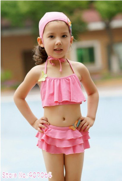 Ems dhl free shipping 5pcs lot pink ruffles ruffled one piece swimsuit swimhat for baby girls - Small tin girl ...
