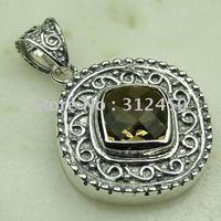 Suppry joyería de plata hechos a mano, colgante de cuarzo ahumado de piedras preciosas joyas de envío gratis LP0131 (China (continental))