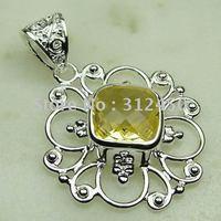 Suppry joyería de plata hechos a mano de piedras preciosas de luz colgante de citrino de envío joyas gratis LP0137 (China (continental))