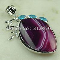 Suppry joyería de plata hechos a mano púrpura ágata piedra colgante de joyería libre LP0124 de envío (China (continental))