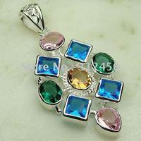 Joyas de plata Suppry hechos a mano de piedras preciosas topacio azul suizo pendiente de envío joyas gratis LP0139 (China (continental))
