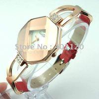 Envío gratis por mayor Nueva piel de cristal reloj, reloj de cuarzo, reloj de pulsera, reloj dama (China (continental))