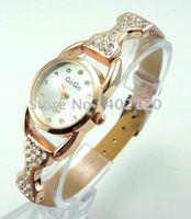 Envío Gratis por mayor Mira los nuevos de cuero llena de cristal, reloj de cuarzo, reloj de pulsera, reloj dama (China (continental))
