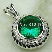Suppry joyería de plata hechos a mano verde amatista colgante de piedras preciosas prasiolite envío joyas gratis LP0054 (China (continental))