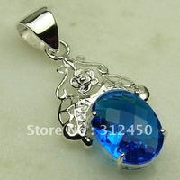 Joyas de plata caliente ventas hechas a mano suizo piedra topacio azul colgante de envío joyas gratis LP0374 (China (continental))