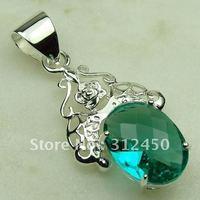 Joyas de plata de venta caliente verde amatista colgante de piedras preciosas joyas prasiolite libre LP0391 de envío (China (continental))