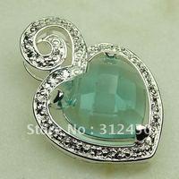 Joyas de plata de venta caliente verde amatista colgante de piedras preciosas joyas prasiolite libre LP0369 de envío (China (continental))