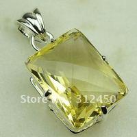 Wholeasle suppry plata joyería de piedras preciosas citrino luz colgante envío gratis LP0393 joyas (China (continental))