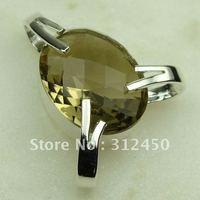 Wholeasle suppry plata joyería de piedras preciosas de cuarzo ahumado colgante joyas envío gratis LP0367 (China (continental))