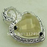 Wholeasle suppry plata joyería de piedras preciosas joyas de la luz citrino colgante libre LP0371 de envío (China (continental))