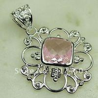 Nueva plata suppry joyas topacio rosa piedras preciosas joyas colgantes libre LP0128 de envío (China (continental))