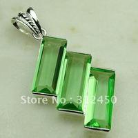 Wholeasle 5PCS joyería de plata suppry cuarzo verde colgante de piedras preciosas joyas gratis LP0364 de envío (China (continental))