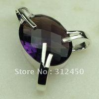 Wholeasle 5PCS plata suppry joyas de piedras preciosas la amatista colgante de envío gratis a LP0395 joyas (China (continental))