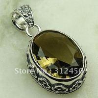 Wholeasle joyería de plata hechos a mano, colgante de cuarzo ahumado de piedras preciosas joyas de envío gratis LP0655 (China (continental))