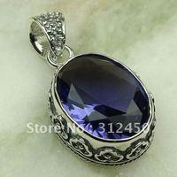 Wholeasle joyería de plata hechos a mano, joyas de amatista colgante de piedras preciosas sin LP0652 de envío (China (continental))