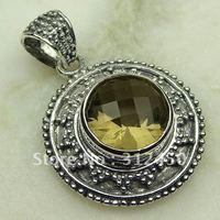 Caliente de la manera joyería de plata hechos a mano 5PCS cuarzo ahumado piedra colgante de joyería libre LP0645 de envío (China (continental))