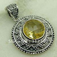 Wholeasle la moda de joyería de plata hechos a mano 5PCS luz citrino piedra colgante de joyería libre LP0651 de envío (China (continental))