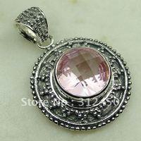 Suppry la moda de joyería de plata hechos a mano 5PCS rosa topacio colgante de piedras preciosas joyas gratis LP0683 de envío (China (continental))